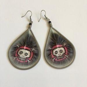 Woven Skull and Crossbone Teardrop Earrings